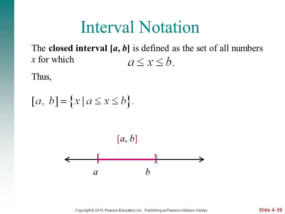 Interval Notation The closed interval [a, b] is defined as the set of all numbers x for which. Thus,